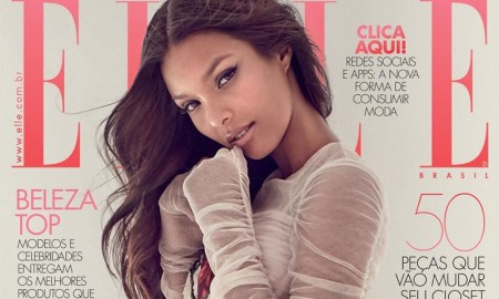 Lais Ribeiro wears Dolce & Gabbana dress on ELLE Brazil September 2015 cover