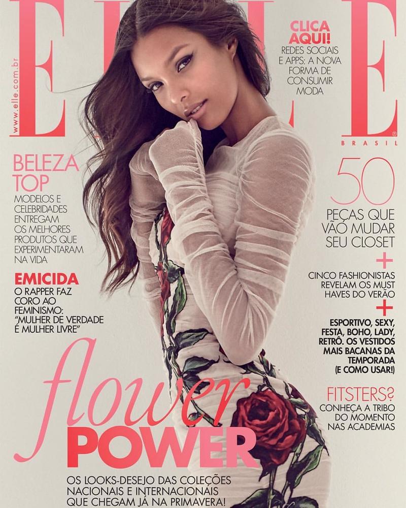 Lais Ribeiro wears Dolce & Gabbana dress on ELLE Brazil September 2015 cover