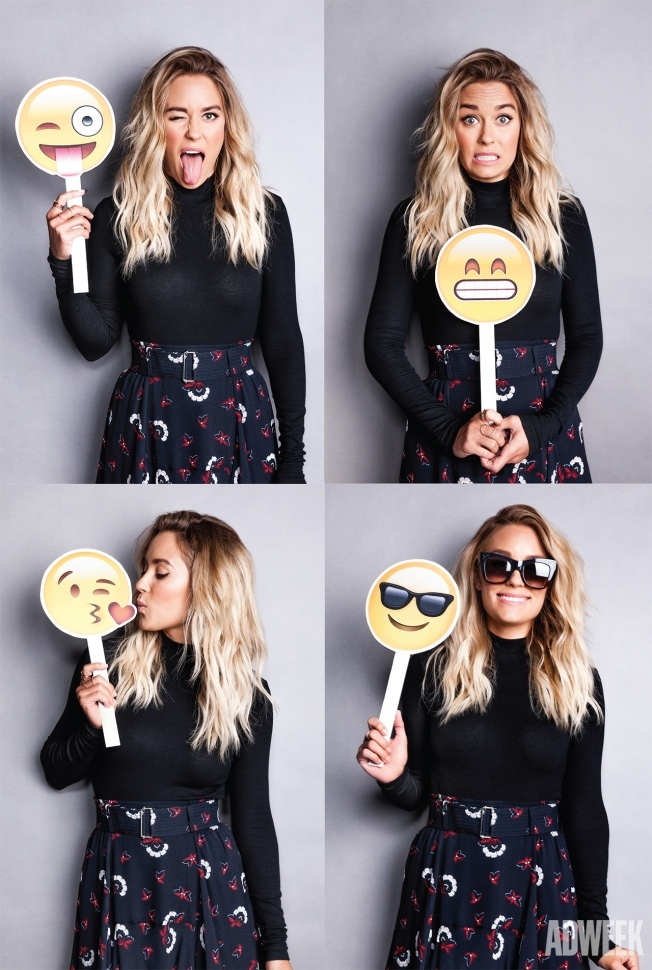 Lauren poses with emojis in the photoshoot