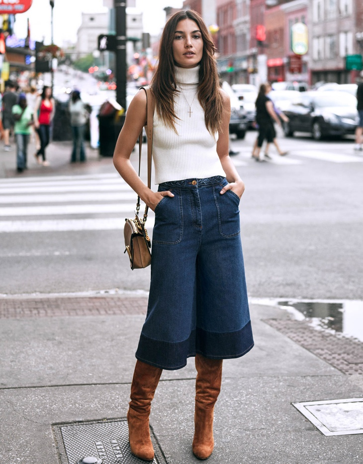 Lily sports denim culottes and a sleeveless turtleneck