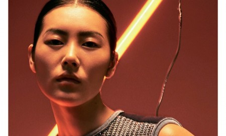 Liu Wen poses in Louis Vuitton top