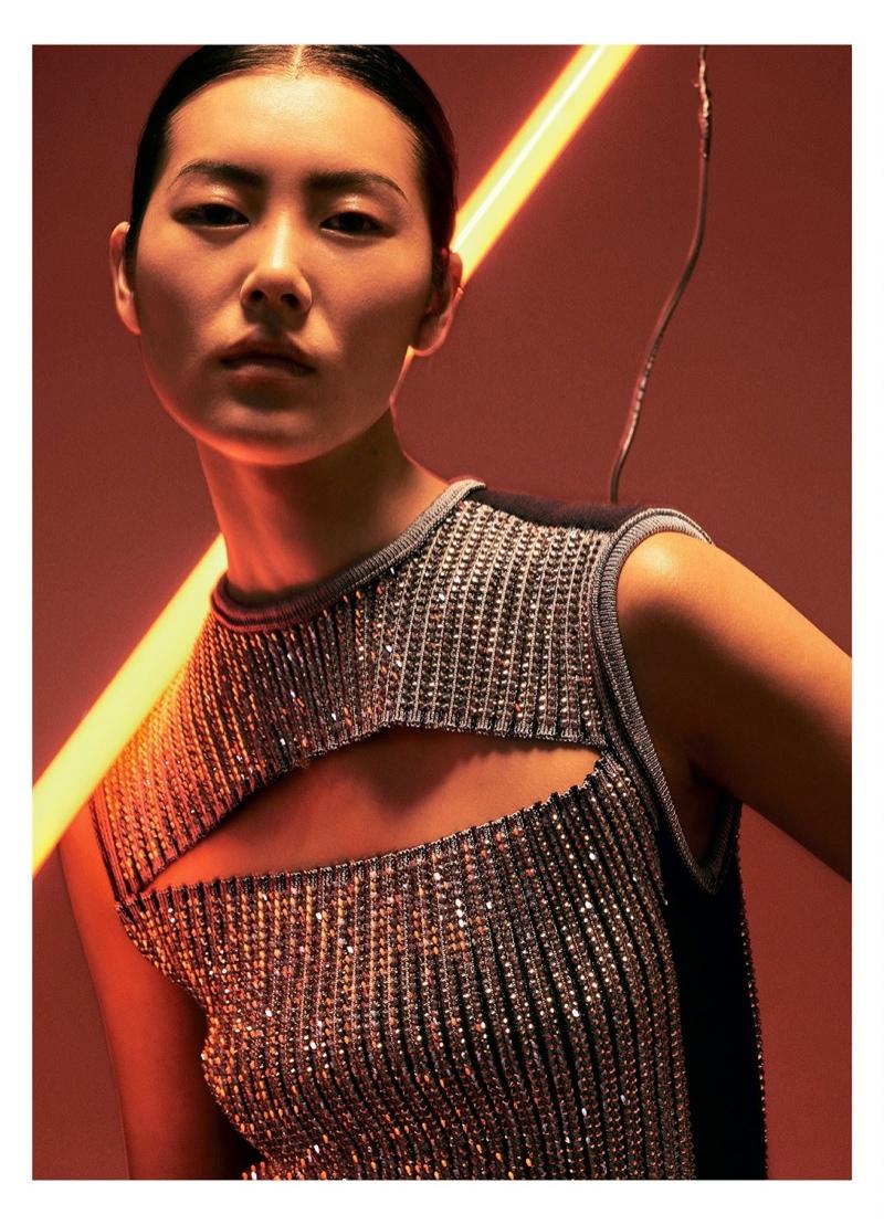 Liu Wen poses in Louis Vuitton top