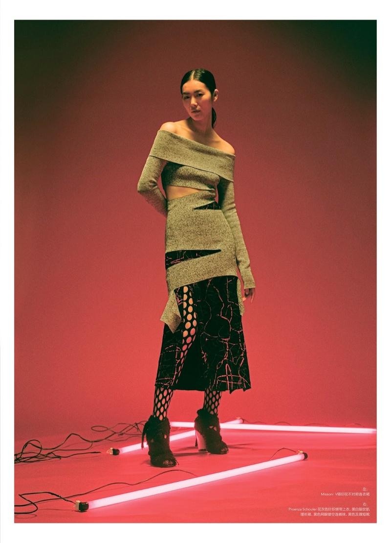 Liu Wen poses in Proenza Schouler knit and skirt
