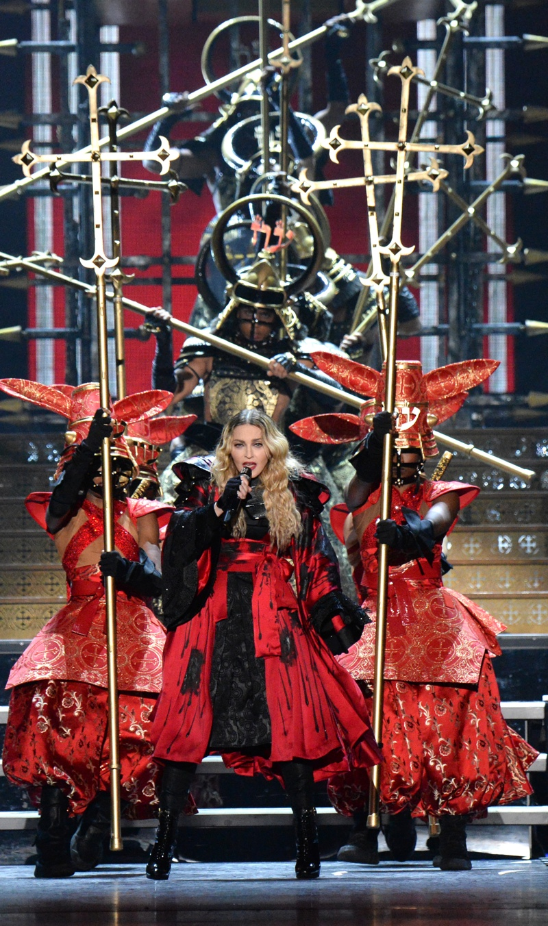 Madonna wears Arianne Phillips designed costume on Rebel Heart tour. Photo: Kevin Mazur for WireImage