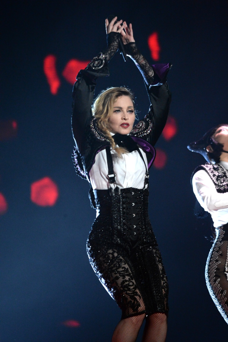 Madonna wears matador inspired look designed by Fausto Puglisi. Photo: Kevin Mazur for WireImage