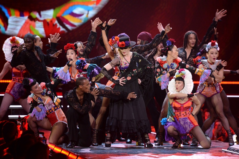 Madonna wears Gucci designed outfit on Rebel Heart tour. Photo: Kevin Mazur for WireImage