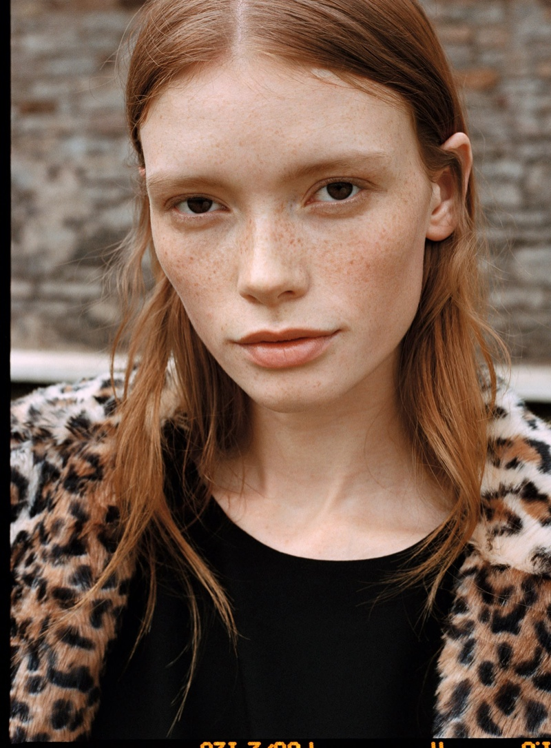 Julia poses in leopard print jacket from Mango