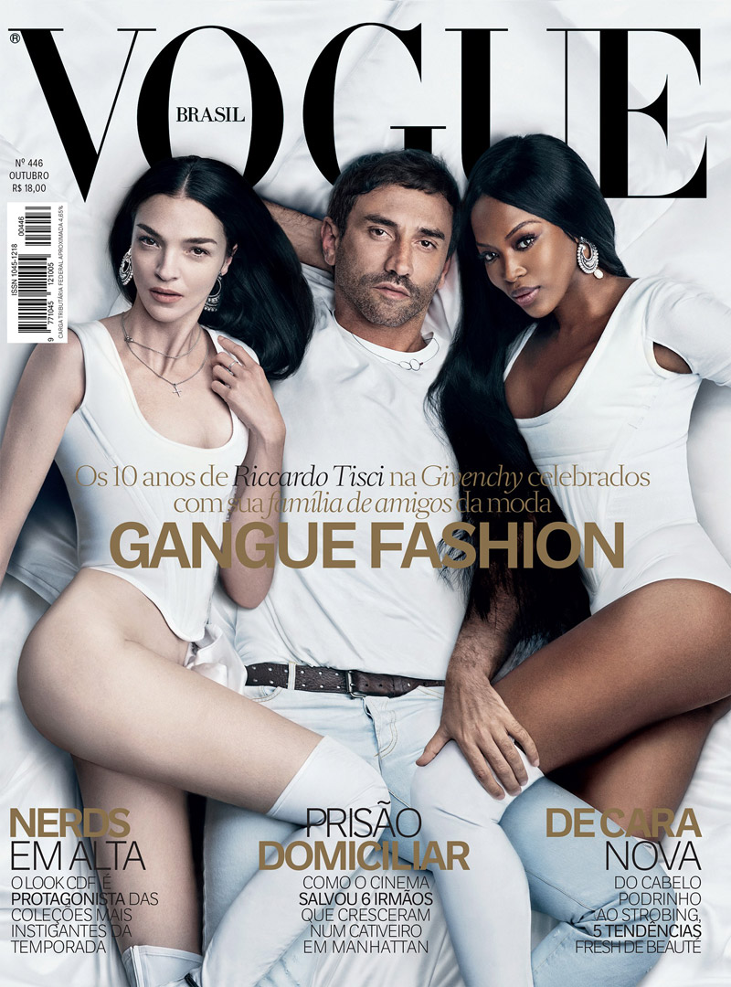 Mariacarla Boscono, Riccardo Tisci and Naomi Campbell on Vogue Brazil October 2015 cover