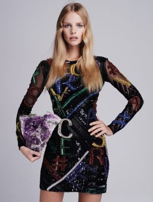 Marloes models Versace dress from label's fall 2015 collection