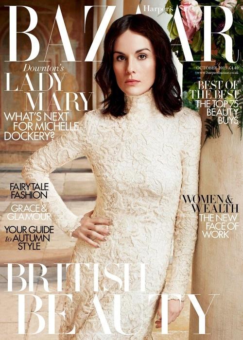 Michelle Dockery on Harper's Bazaar UK October 2015 cover