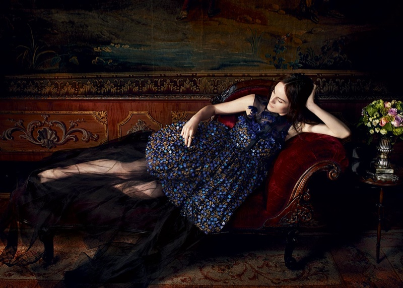 Michelle poses in a Delpozo dress for the feature