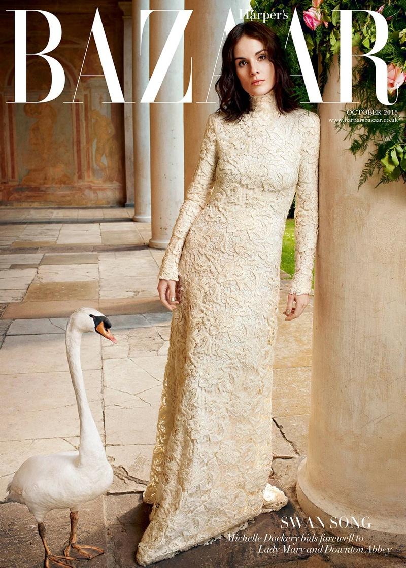 Michelle Dockery in Ralph Lauren lace dress on BAZAAR UK's subscribers cover