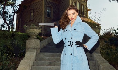 Miranda Kerr poses in a Halloween themed shoot for the October issue of Harper's Bazaar US
