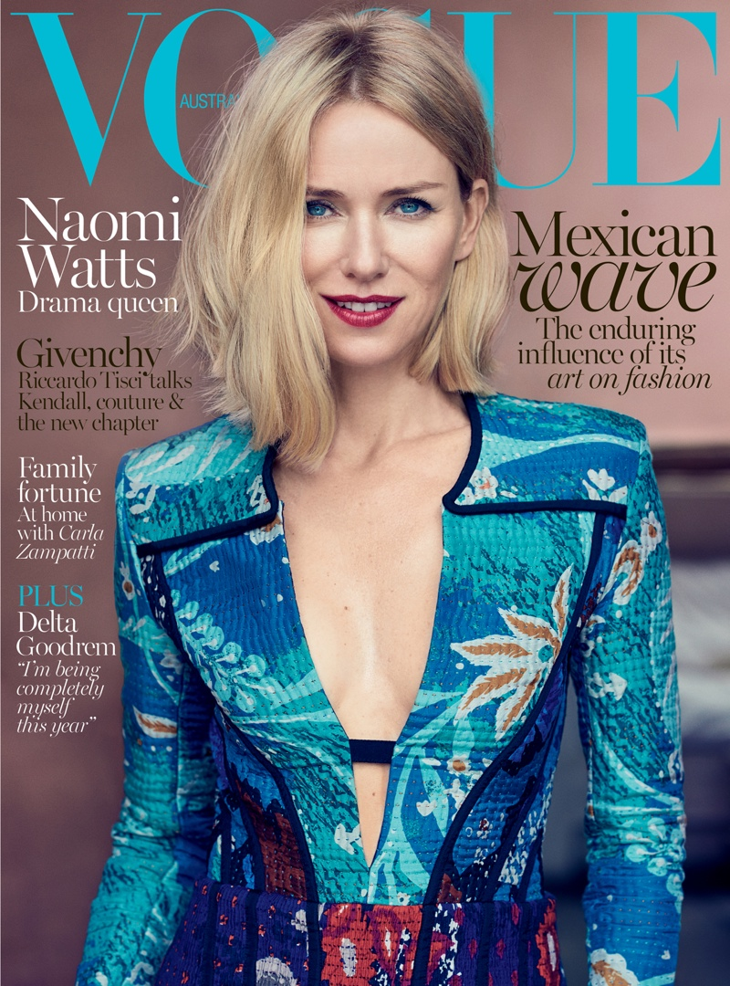 Naomi Watts Has a Blue Moment on Vogue Australia October 2015 Cover