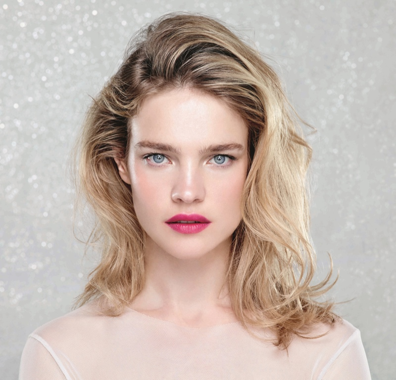 Natalia models berry red lip for Etam Beauty campaign