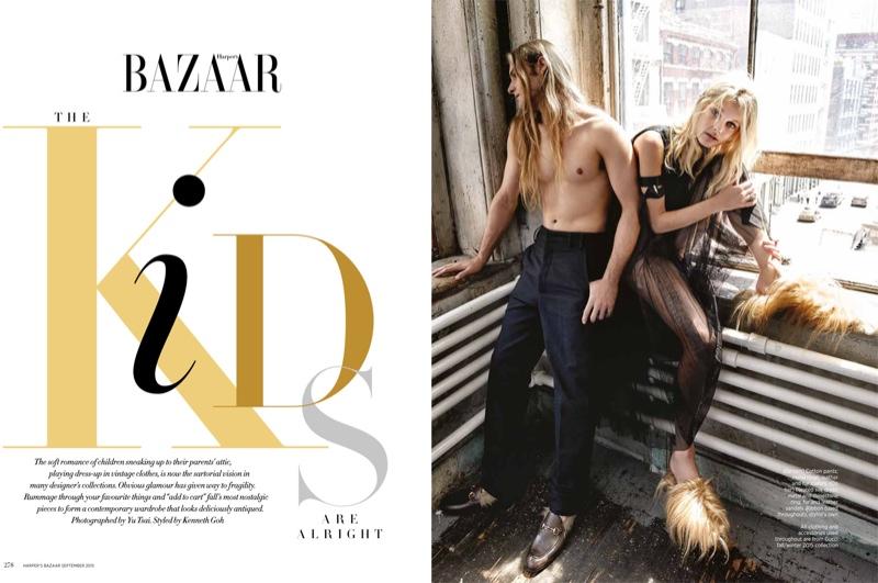 Patricia Van der Vliet poses with Max Schlesinger in BAZAAR Singapore editorial
