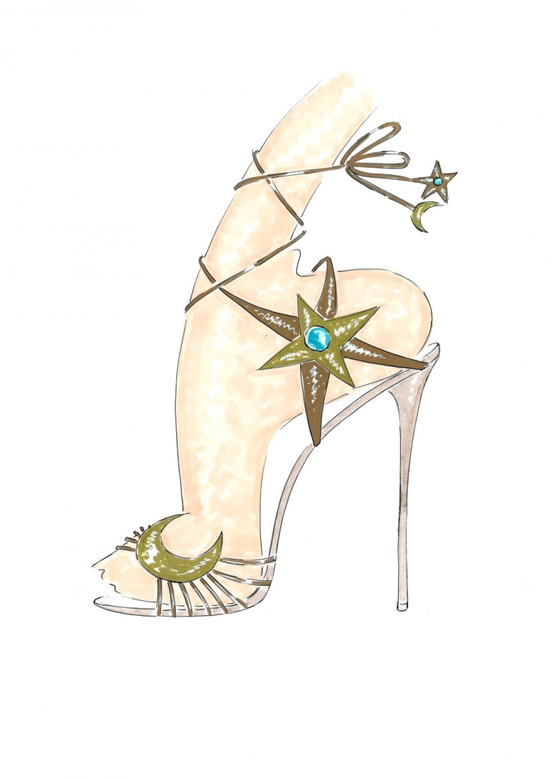Poppy Delevingne x Aquazzara shoe sketch