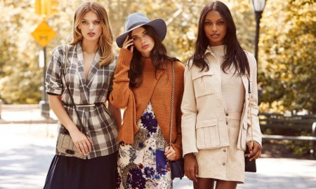 The trio of top models wear autumn looks from REVOLVE Clothing