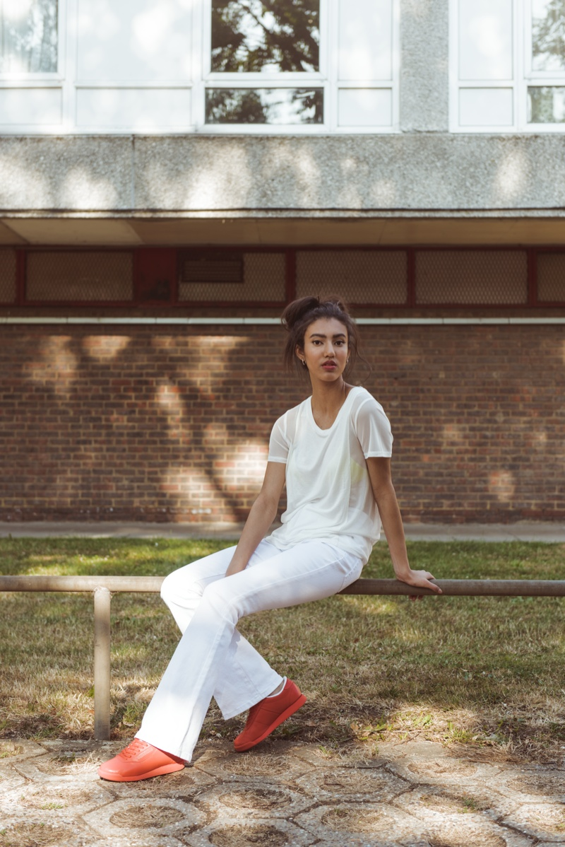 Model wears Rebook Classic 'Princess' style from FACE Stockholm collaboration