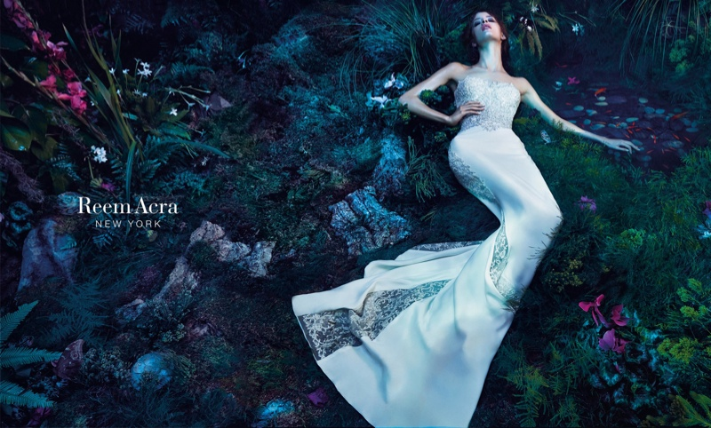 Isabelle poses in embellished gown from Reem Acra