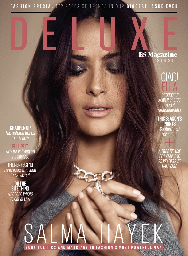 Salma Hayek on Deluxe by ES Magazine September 2015 cover