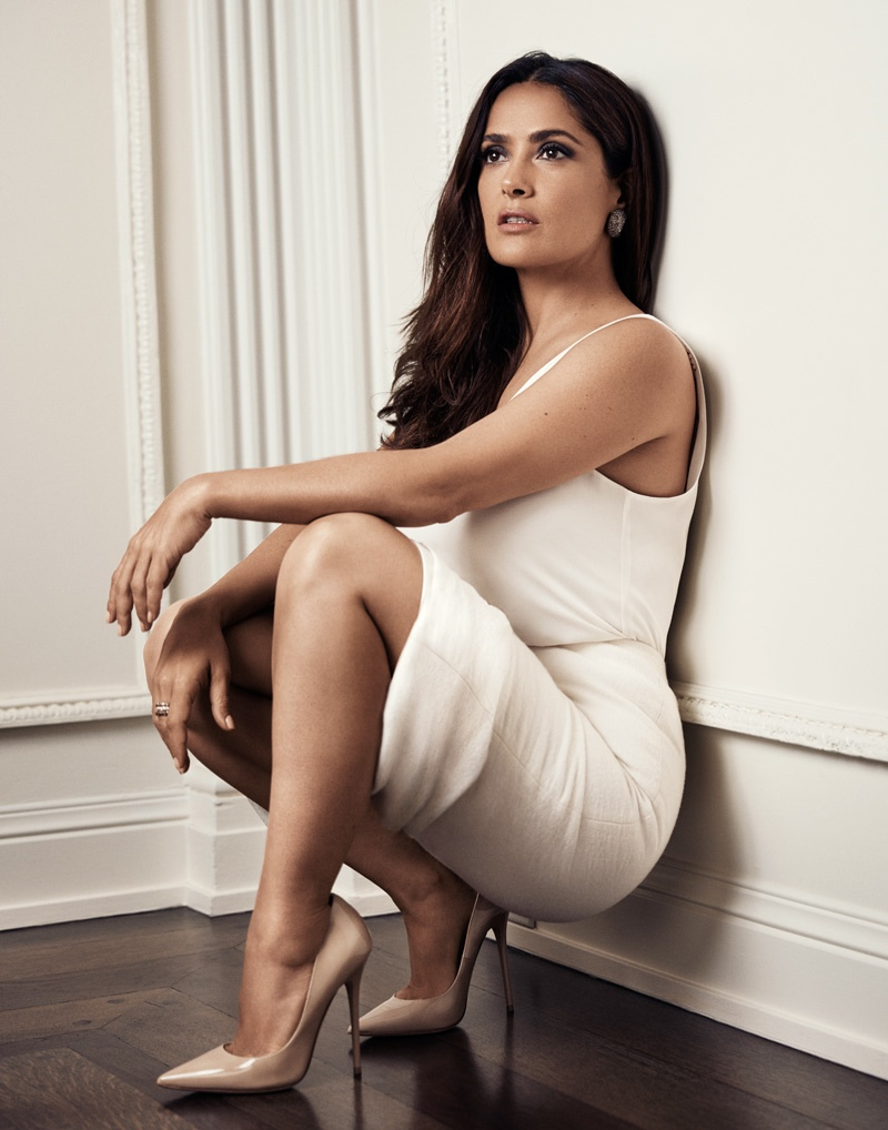 Salma poses in a little white dress and pumps