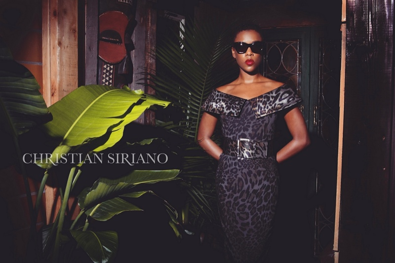 Samira poses in leopard print dress from Christian Siriano