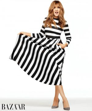 Sarah Jessica Parker Wears Valentino Stripes in BAZAAR Cover Story
