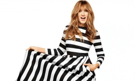 Sarah Jessica poses in a Valentino dress with black and white stripes