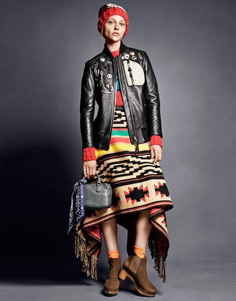 Sasha wears a DSquared2 poncho as a skirt in this image