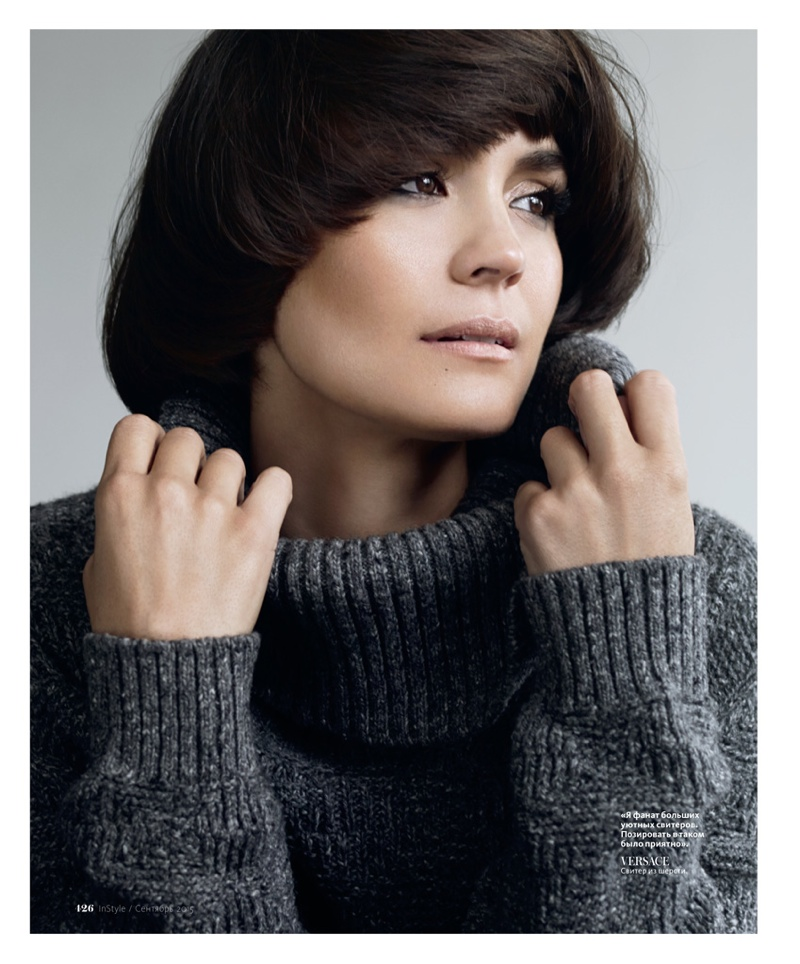 The actress wears a cozy turtleneck look