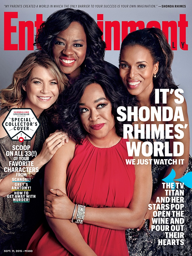 Ellen Pompeo, Viola Davis, Kerry Washington and Shonda Rhimes on Entertainment Weekly September 11, 2015 cover