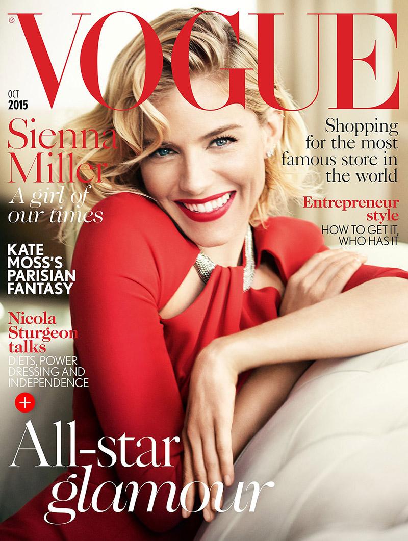 Sienna Miller on Vogue UK October 2015 cover
