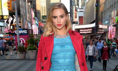 Suki Waterhouse attends launch of Burberry Makeup at Sephora in Times Square, New York