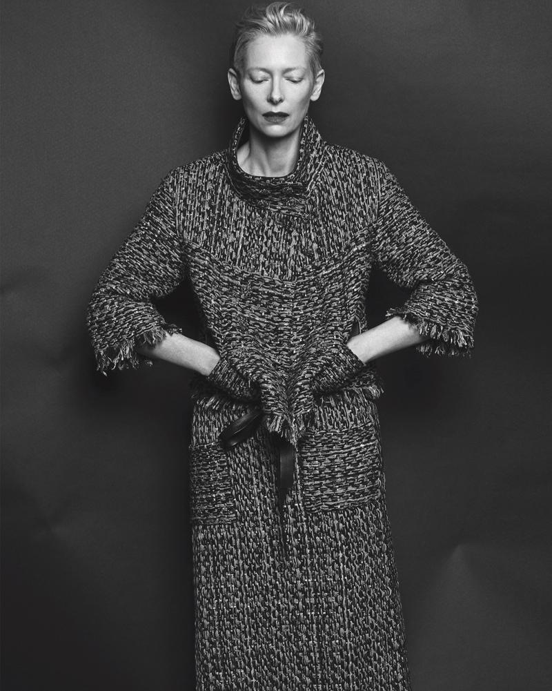 Tilda wears tweed jacket from Chanel
