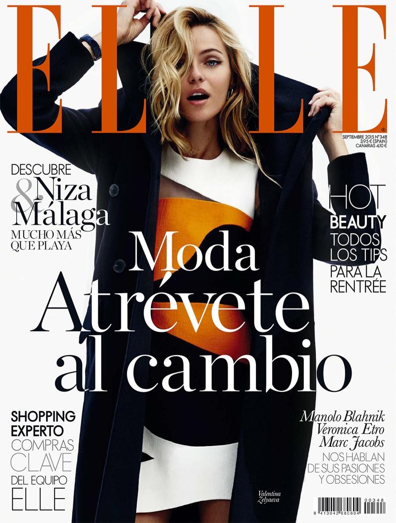 Valentina Zelyaeva on ELLE Spain September 2015 cover