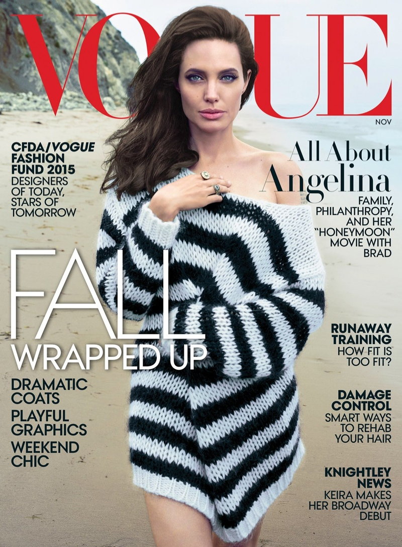 Angelina Jolie Poses With Her Children In Vogue's November