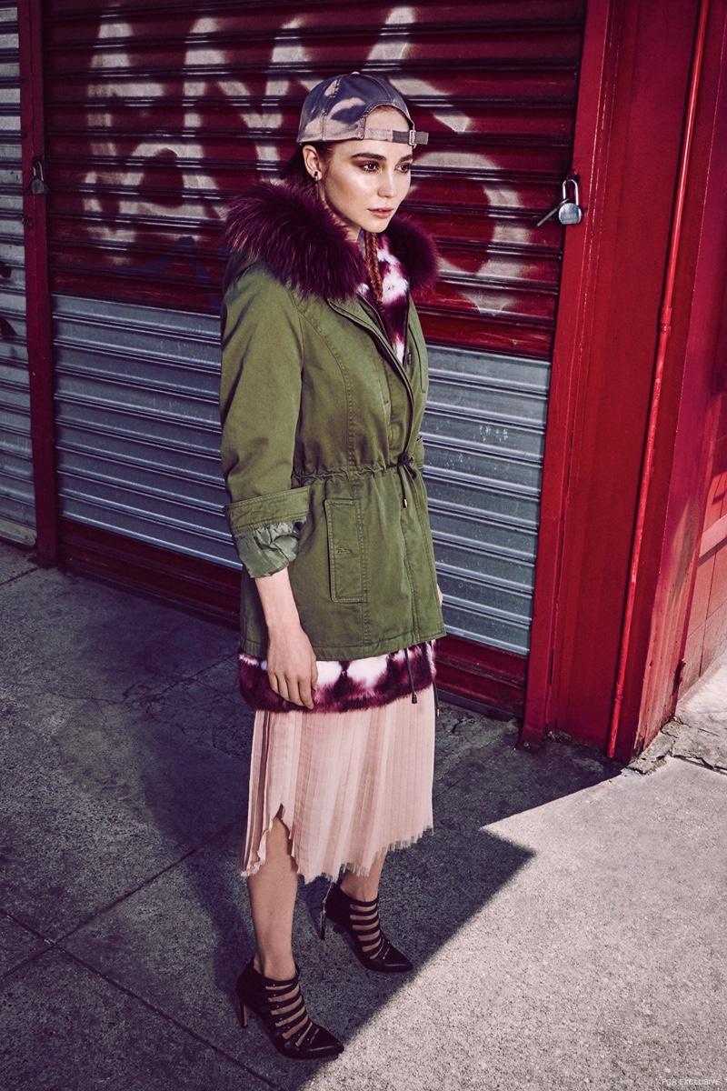 Parka Alessandra Chamonix, Dress Ulla Johnson, Shoes Kelsey Dagger Brooklyn, Hat Silence & Noise, Earrings Luz Ortiz