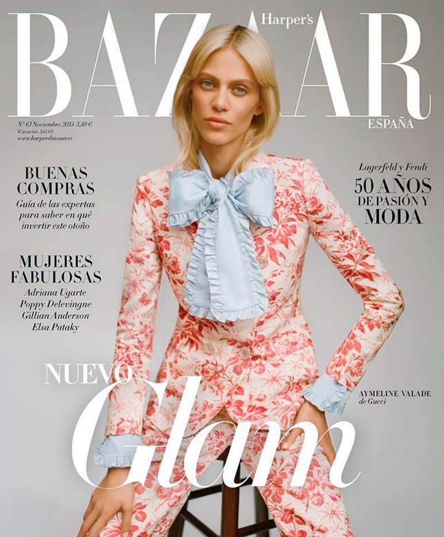 Aymeline Valade on Harper's Bazaar Spain November 2015 cover