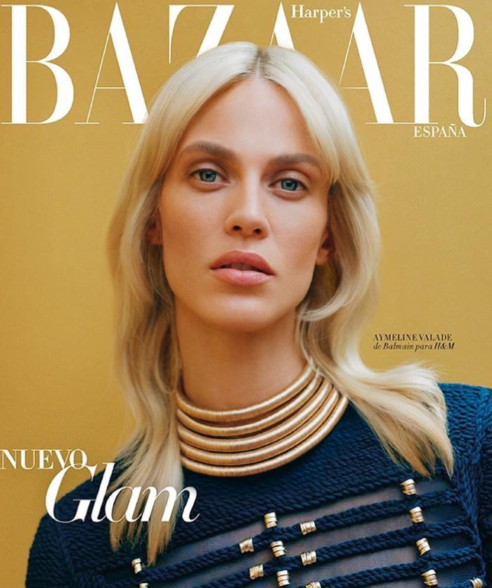 Aymeline wears Balmain x H&M on Harper's Bazaar November 2015 subscribers cover
