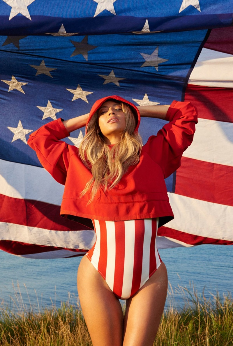 Beyonce gets patriotic in a stars and stripes swimsuit
