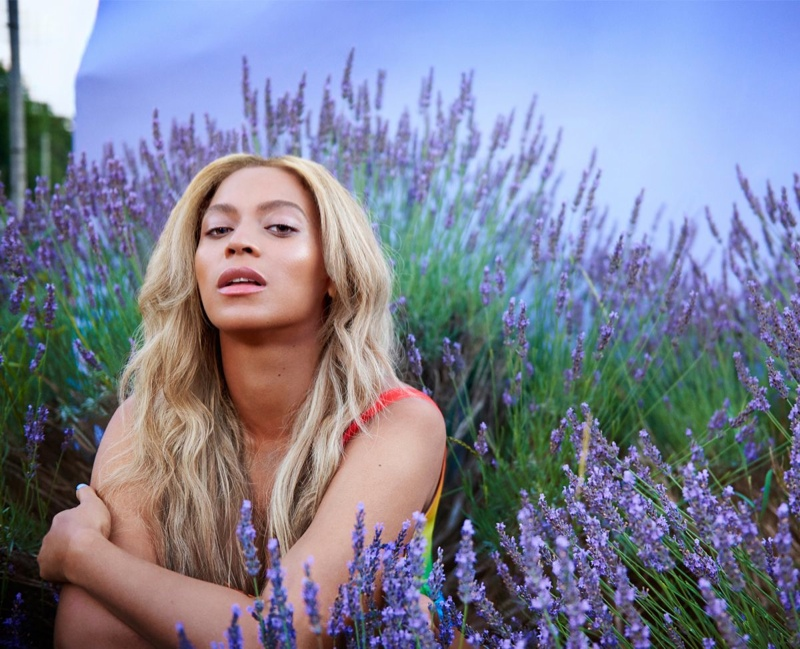 Beyonce poses in a field of lavender Beat Magazine