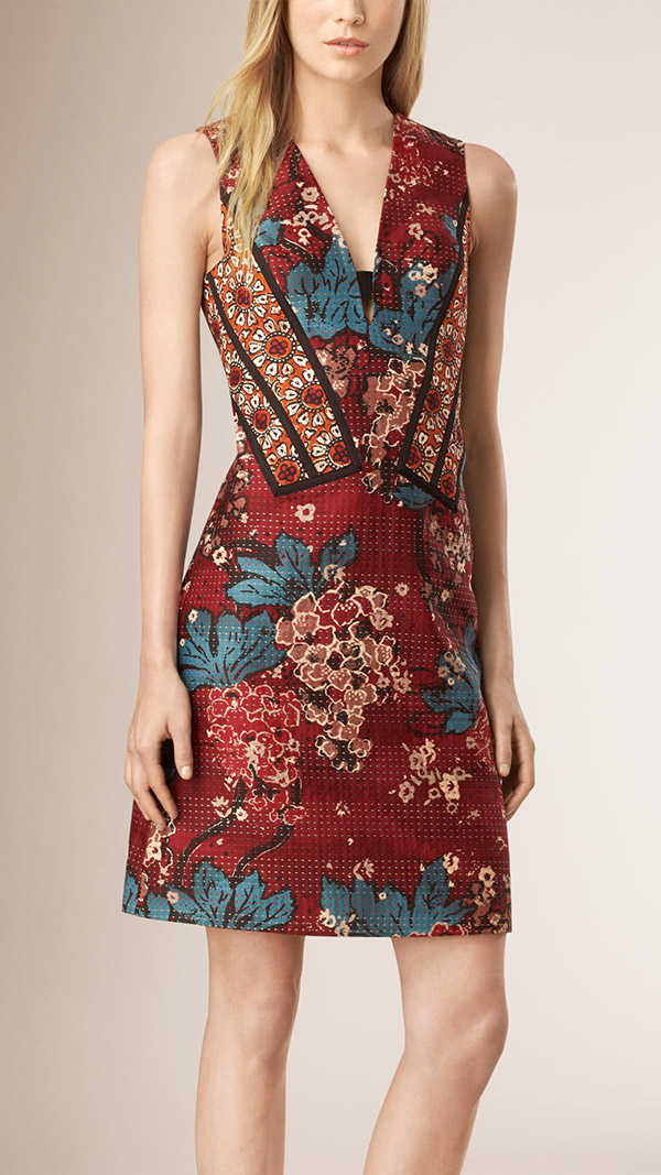 GET THE LOOK: Burberry Paneled Floral Print Shift Dress