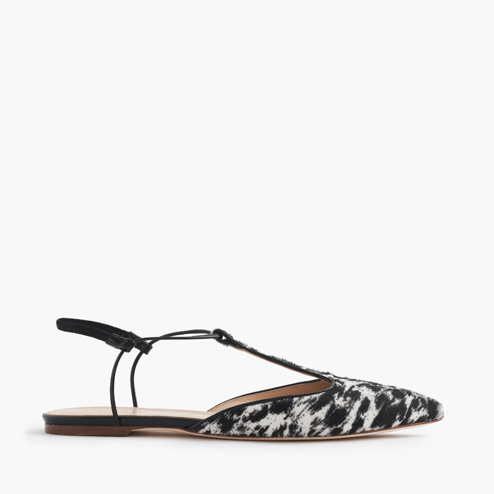 J. Crew Collection Calf Hair T-Strap Flats
