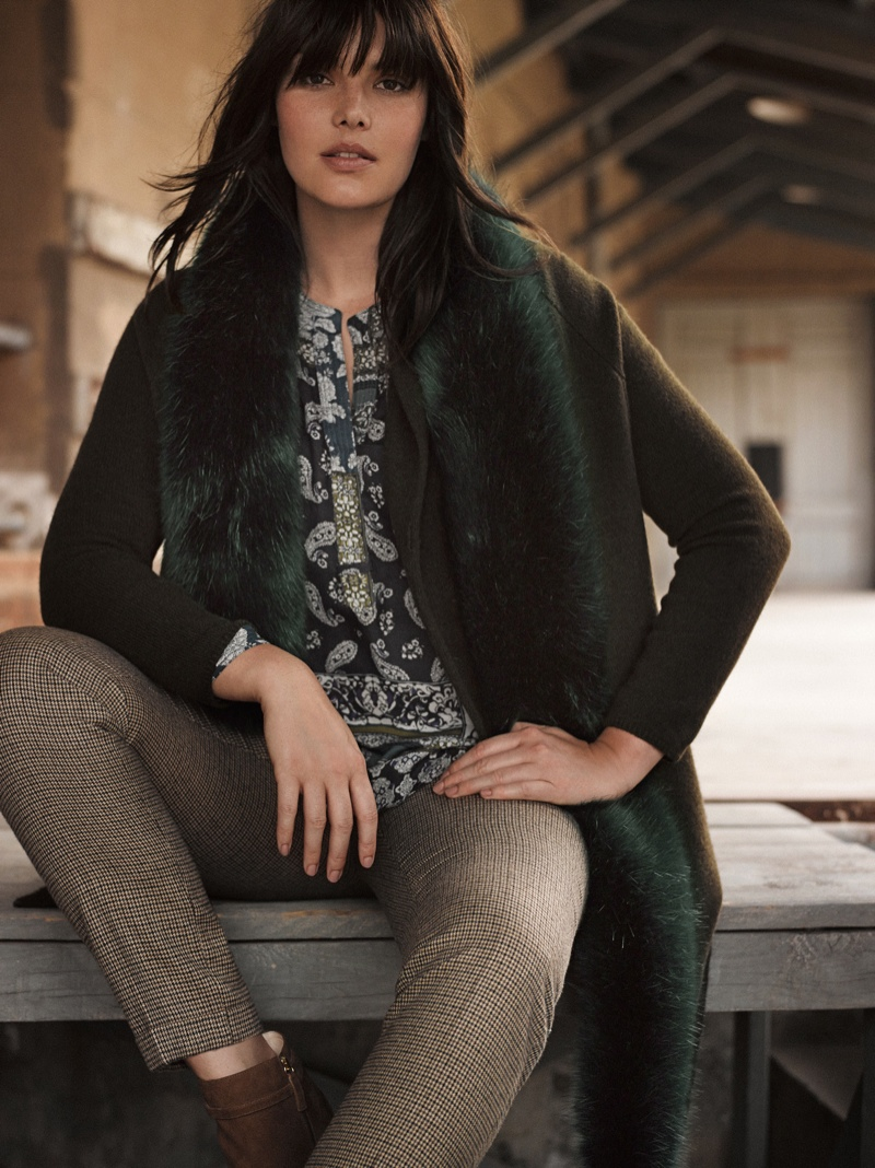 Candice Huffine Takes on Winter Outerwear for Violeta by Mango
