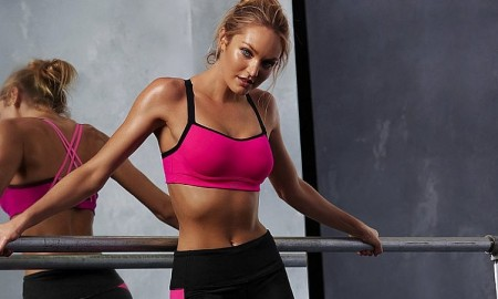 Candice Swanepoel models workout clothes from Victoria's Secret