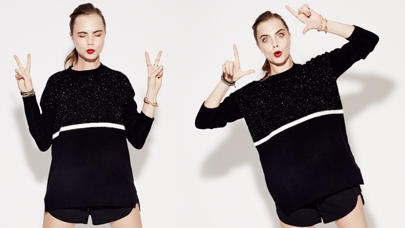 Cara models an oversized sweater