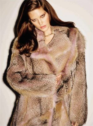 Catherine McNeil Models Luxe Furs for Vogue Spain