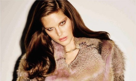 Catherine McNeil models fur looks for the magazine