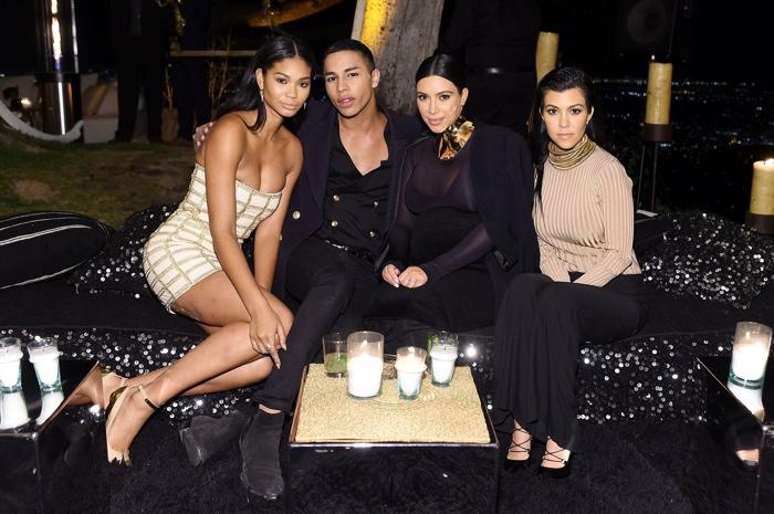 Chanel Iman, Olivier Rousteing, Kim Kardashian and Kourtney Kardashian